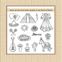 Vector set of hand drawn doodles on the theme of Mexico