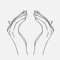 Sketch of the hands. Vector illustration.