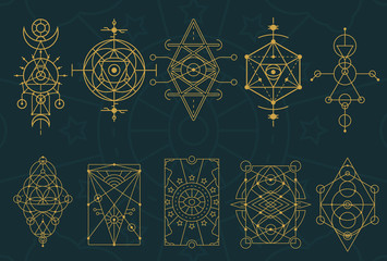 Abstract Sacred Geometry and Magic Symbols Set 4 Wall mural