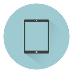 Tablet computer icon flat style with shadow on background, vector illustration