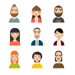 Set of diverse avatars. Business avatars set. Different nationalities, clothes, hair styles.