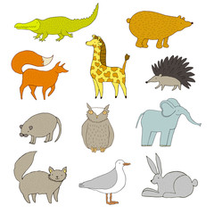 Funny vector set of cute animals. Handdrawn illustration made in vector. The crocodile, elephant, bear, fox, giraffe, hedgehog, owl,  mouse, cat, seagull, rabbit.