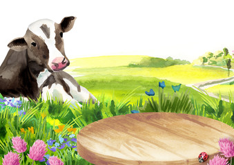 Cow and a platter in a landscape. Watercolor template