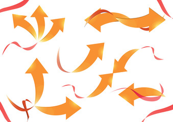 Collection of curved arrows, Vector designs with gold arrow and red ribbon.