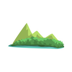 Tropical Island With Mountains View Jungle Landscape Element