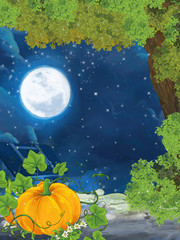 Cartoon cute scene with pumpkin near the tree - illustration for children