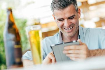 Refreshing break at the bar
