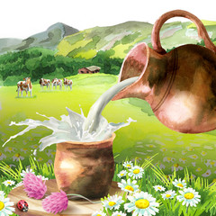 Splash of milk in a mug on a background of Alpine scenery, a pitcher and cows. Watercolor