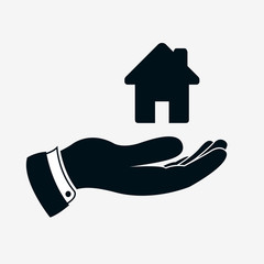 Hand icon with house sign or home sign. Simple house icon above hand. Illustration of hand which giving or offering a housing and rest. Vector isolated illustration.
