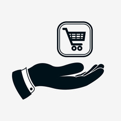 Hand icon with shopping trolley cart. Shoppingcart sign above hand. Shopping and trade concept. Vector isolated illustration.