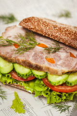 Tasty rye bread sandwiches with roast meat and vegetables