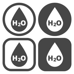 H2O Water drop sign icon