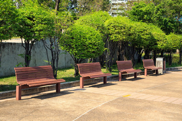 Wooden bench in city park.