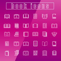 vector icons books Thin Line white