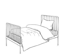 Kids bunk bed doodle style sketch