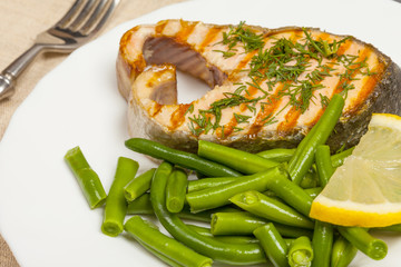 grill the salmon on the plate