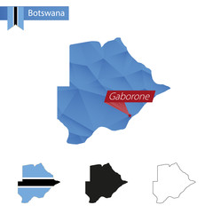 Botswana blue Low Poly map with capital Gaborone.