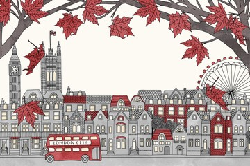 London in autumn - hand drawn colorful illustration of the city with red maple branches