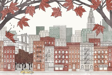 New York in autumn - hand drawn colorful illustration of the city with orange-brown maple branches