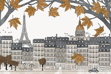 Paris in autumn - hand drawn colorful illustration of the city with yellow maple branches