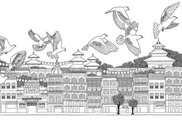 Kathmandu, Nepal - hand drawn black and white cityscape with birds