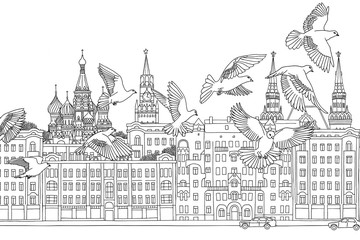 Moscow, Russia - hand drawn black and white cityscape with birds