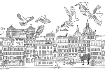 Rome, Italy - hand drawn black and white cityscape with birds