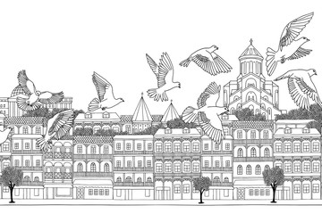 Tbilisi, Georgia - hand drawn black and white cityscape with birds