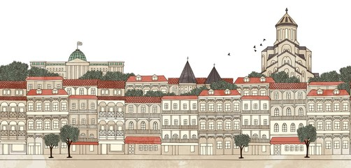 Tbilisi, Georgia - seamless banner of Tbilisi's skyline, hand drawn and digitally colored ink illustration
