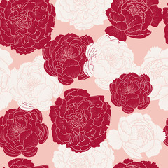 Peony on a pink background.Vector seamless pattern
