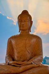 Sunset Behind Buddha Image