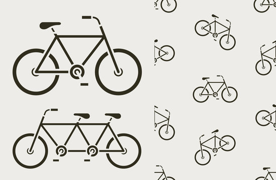 Vector image of seamless bicycles on white background