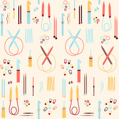 Seamless pattern with elements of handycraft