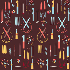 Crochet hooks, needles, markers, and elements seamless pattern