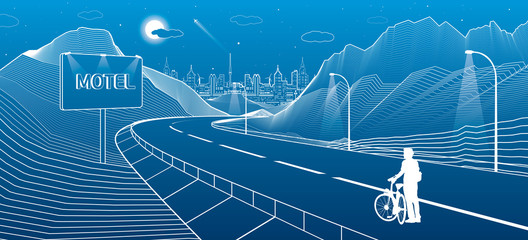 The road in the mountains, night city scene, cyclist preparing for a trip. Billboard with the word Motel. Neon town on background, white lines landscape, vector design art
