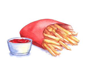 Watercolor illustration of hand-drawn French fries with ketchup, isolated on the white background. Fast food drawing