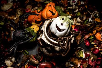 Halloween pumpkin, black and dark style