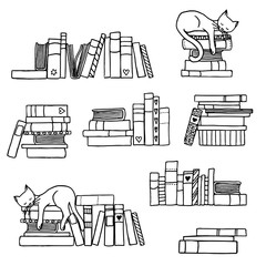 Hand drawn book stacks with cute sleeping cat