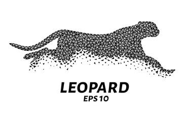Leopard triangles, particle divergent composition, vector illustration
