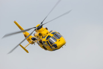 Rescue helicopter flying fast