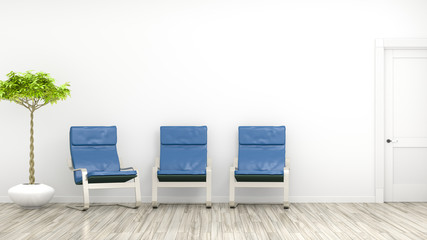 room with three blue chairs