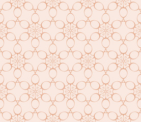 Abstract illustration of a seamless pattern of floral ornament. Vector. Beige, pastel color.