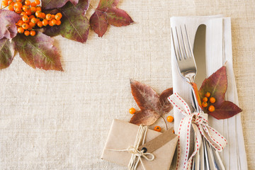 Thanksgiving autumn fall table setting copy space toning background