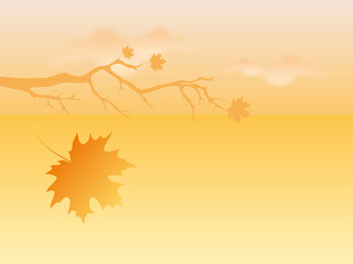 Autumn background vector. Autumn abstract illustration. Branch with falling leaves. Dreamy landscape
