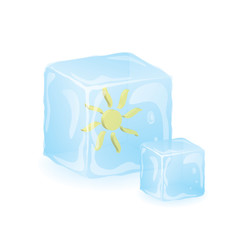 Sun in Blue Ice. Vector Illustration