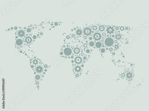 World map mosaic of grey cog wheels on light grey background world map mosaic of grey cog wheels on light grey background industrial theme vector gumiabroncs Image collections