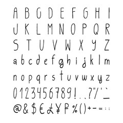 Handwritten simple vector alphabet set