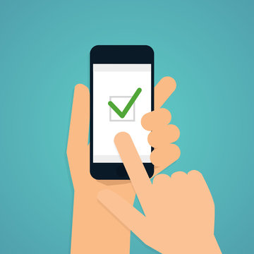 Hand holding mobile smart phone with check app. Vector modern fl