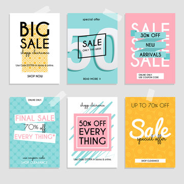 Set media banners with discount offer. Shopping background, labe