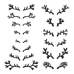 Set of hand drawn deer horns black on the white background, silhouette of antlers